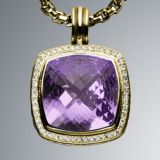 Sterling Silver DY Inspired 20mm Amethyst  Albion Pendant Enhancer with Gold