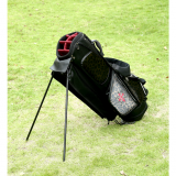 Black and red color leopard grain PU leather golf stand bag