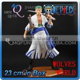 MINI QUTE 23 cm japanese anime Pirates one piece action figure zoro Solon in white clothes brinquedos boys in box NO.MQ 070