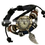 manufacturer watch leather bracelet wings charms adjustable length 2016 cheap promotion gift