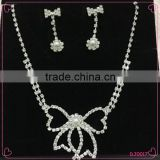 New Arrivals wedding Silver bowknot Crystal Bridal Choker Necklace Earring Jewelry Set