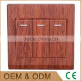 A series red wood 3 gang push button wall switch, red wood led wall switch                                                                                                         Supplier's Choice