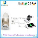 Colour assorted 2 ports usb car charger 5V 2A car charger fast charging for electronic device