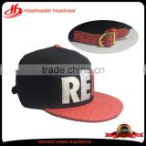 Hot Sale Applique 6 panel snapback hat Red Broken Hole Leather Brim Metal Strap Black Acrylic Snapback Caps And Hats