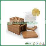 Graceful 6Pcs Square Round Bamboo Chinese Tea Cup Saucers Set & Holder