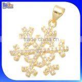 China Alibaba Express Cheap Yellow Gold Plated Micro-pave Cubic Zircon Snowflake Copper Pendant Brass Pendant With Diamond