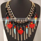 Fahion Elegant Exquisite Best Friend Gold Heart Necklace Crystal and Resin Alloy Tassels Pendant Necklace in Stock