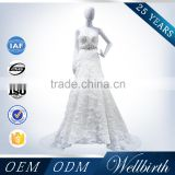 Beaded Lace Tulle Fabric Flowing Chiffon Beach Romance Wedding Dress