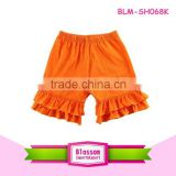 Newest In Stock Promotional Children Cotton Short Wholesale Baby Knit Ruffle Short Boys Unisex Orange Bottom puffy Petti Shorts