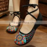 plus size New Fashion Women's Shoes Old Peking Flats,Ladies Embroidery Soft Sole Lace-Up Casual Shoes zapatos mujer