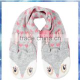 Heart owl knitted circle scarf,owls handmade,2014 wholesale winter hot fashion knitted scarf