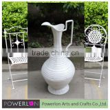 New product antique finished galvanized tall flower vases with metal handle for decoration