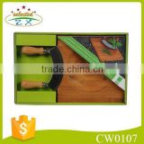 2 pcs Mincing Knife In Wooden Handle With Bamboo Cutting Board