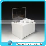 high quality large white acrylic suggestion box perspex donation box plexiglass charity box with lock and brochure holder