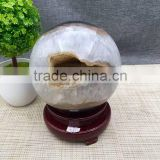 Beautiful natural high quality citrine open smile crystal geode crystal ball for decoration