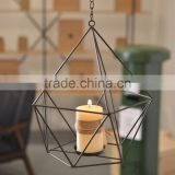 Metal wire candle holder for hanging or stand