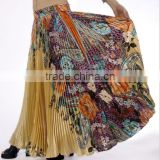 Hot selling egyptian printed belly dancing pleated skirt