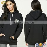 Ecoach Autumn winter black color 60%cotton 40%polyester long sleeve contrast drawstrings longline thick fleece women hoodie