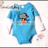 fashion new boys long sleeve rompers cute baby bodysuits snapsuits