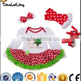 wholesale designer christmas clothing baby rompers & socks & shoes & hair band 4pcs newborn baby clothes