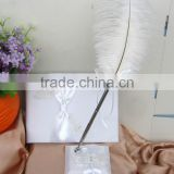 2014 New design delicate Wedding Guest Book with butterfly/unique Wedding Pen stand with feather pen