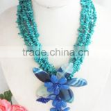 Free shipping!!2015 the newest design by royal blue coral and semi-precious stone flower