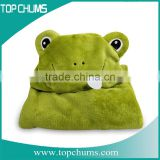 Wholesale customized Animal shape solid color children baby hood fleece blanket poncho