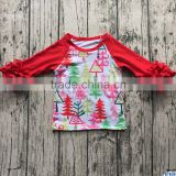 2017 Wholesale Baby Red Ruffle Sleeved Raglan Shirts Kids Cottton 3/4 Icing Sleeves t-shirt