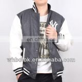 Custom logo Men's melton wool baseball jacket pu sleeve varsity jacket winter quilted jacket
