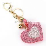 heart shape rhinestone leather keychain for bagpack