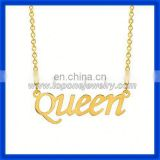"Factory price alphabet ""queen"" personalized 14k gold name brand fashion jewelry"