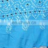 Handcrafted Blue Color Hand Tie Dye Bandhej Bandhani Beaded Jaipuri Tradional Ethnic Stole Dupatta