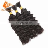 high quality human hair extension brazilian deep wave hair weave afro kinki human hair bulk for braid