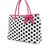 full printed polka dot tote bag with bow from China factory
