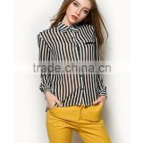 2015 Ladies' white and black stripe Long sleeve Chiffon Blouse for Summer
