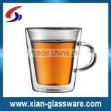 Promotional wholesale handmade clear high quality glass cup with handle/double wall glass cup with handle for home/wedding/bar