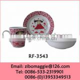 Round Shape 3pcs Children Porcelain Dinner Set for Breakfast Table Set