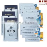 Aluminum foil rfid blocking card sleeve for Credit Card and Passport sleeve protector