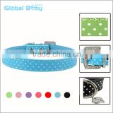 Wholesale China Polka Dots Plain Leather Dog Collars With Heart Pendant Charms