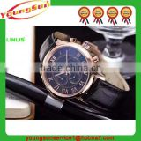 Aliexpress best seller brand men leather wrist watch 2015,European new fashion stainless steel water resistant