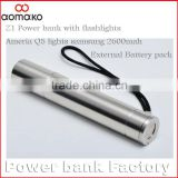 Manufacturer wholesale aluminum power bank Z1 aluminium alloy 2600mah external battery charger hotselling power bank in Africa