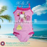 Toddler Girls Swimsuit with rubber printed litter girl,3D flower on hair,contrasted frills at front neck,back of hip &leg