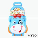 Wholesale baby activated walker toy rotating baby walker baby walker push blue color cow design