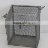 100505F-square metal wire bird cage w/antique grey finish