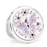 logo service high -end cosmetic butterfly mirror mental crystal pocket mirror