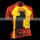 Black cat breathable China custom french unique cycling jerseys