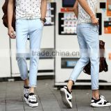 2016 summer new style roll up hem jeans for men & light wash jeans for man