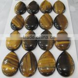 Yellow Gemstone Beads and Cabochons-Brown tiger's eye 18*25mm pear cabochon for jewellery making-semi precious stones
