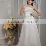 New Elegant Ivory Strapless A-line Floor Length Appliqued Satin Wedding Dresses xyy04-060