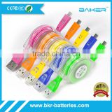 smile face Retractable LED flat Micro USB cable 2A fast charging 1M lenght with LED light up                                                                         Quality Choice